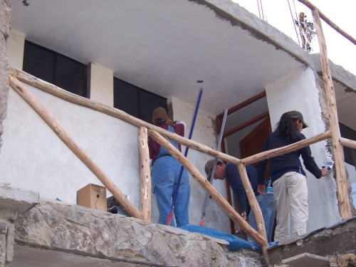 Working on the second floor to the original building.