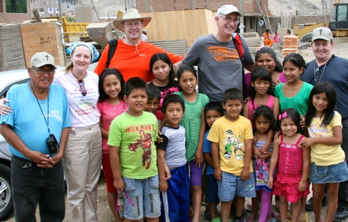Some of the mission team with their new friends.