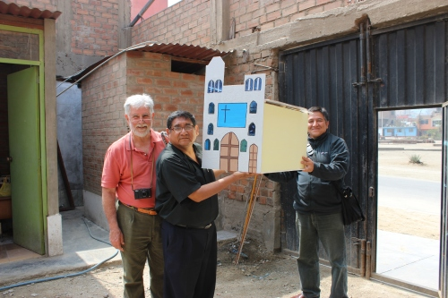 Fr. Ian with Padres Carlos and Jorge during Ian's April visit to review the plans for the chapel and New Grace's mission.
